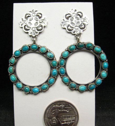 Image 1 of Annie Hoskie Navajo Native American Turquoise Circular Silver Earrings