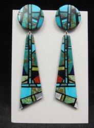 Long Santo Domingo Kewa Christopher Nieto Turquoise Multigem Inlay Earrings