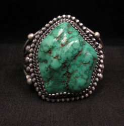 Chunky Native American Navajo Lone Mountain Turquoise Bracelet, Verdy Jake