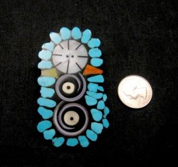 Contemporary Santo Domingo Kewa Mosaic Inlay Pin/Pendant, Mary Tafoya
