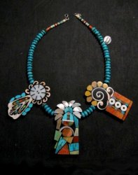 Colorful Santo Domingo Mosaic Inlay Turquoise Bead Necklace, Mary Tafoya