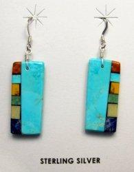 Multi-colored Inlaid Earrings by Mary Tafoya, Santo Domingo Pueblo