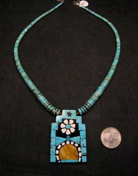 Image 0 of Colorful Santo Domingo Mosaic Inlay Turquoise Heishi Necklace, Mary Tafoya