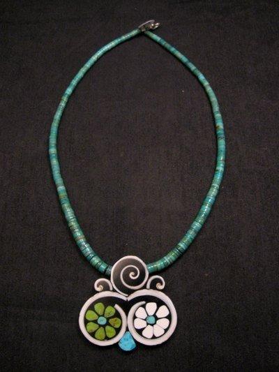 Image 0 of Mary Tafoya Santo Domingo Mosaic Flower Inlay Turquoise Heishi Necklace