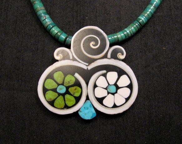 Image 1 of Mary Tafoya Santo Domingo Mosaic Flower Inlay Turquoise Heishi Necklace