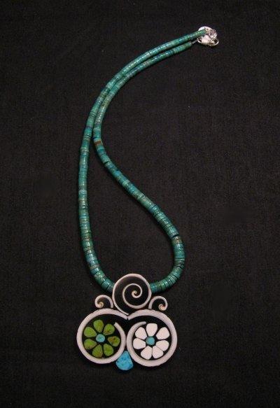 Image 4 of Mary Tafoya Santo Domingo Mosaic Flower Inlay Turquoise Heishi Necklace