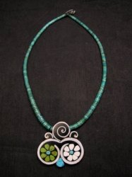 Mary Tafoya Santo Domingo Mosaic Flower Inlay Turquoise Heishi Necklace