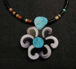 Whimsical Santo Domingo Kewa Inlay Flower & Heishi Necklace, Mary Tafoya