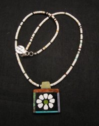 Santo Domingo Kewa Inlay Flower Pendant & Heishi Necklace, Mary Tafoya