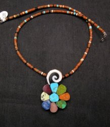 Mary Tafoya Santo Domingo Multigem Inlay Flower & Heishi Necklace