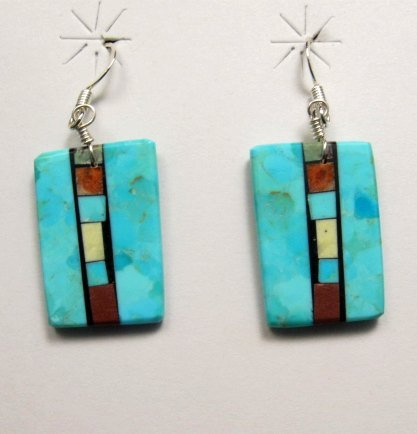 Image 0 of Santo Domingo Kewa Turquoise Double-sided Inlay Earrings, Mary Tafoya