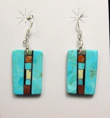 Image 1 of Santo Domingo Kewa Turquoise Double-sided Inlay Earrings, Mary Tafoya