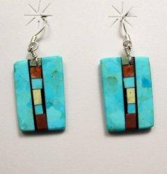 Santo Domingo Kewa Turquoise Double-sided Inlay Earrings, Mary Tafoya