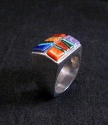 Navajo  Multistone Inlay Ring sz 10-1/2, Unique Shape, designed by Calvin Begay