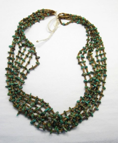 Image 3 of Dead Pawn Native American 7-strand Turquoise Nugget Necklace