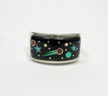 Image 0 of Navajo Multi Stone Inlaid Night Sky Shooting Star Ring sz11, Matthew Jack