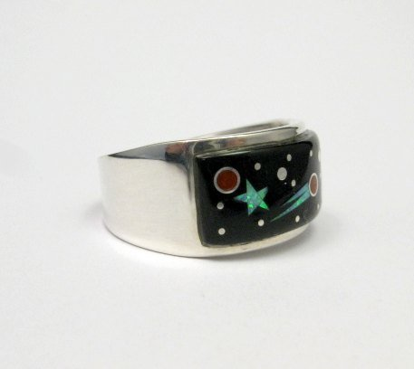 Image 1 of Navajo Multi Stone Inlaid Night Sky Shooting Star Ring sz11, Matthew Jack