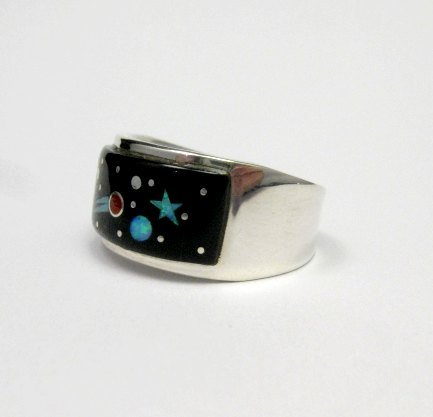Image 2 of Navajo Multi Stone Inlaid Night Sky Shooting Star Ring sz11, Matthew Jack