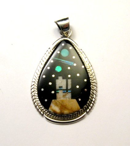 multi arrowhead southwest pendant hoskie by inlay gemstone ervin