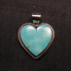 Navajo Native American Kingman Turquoise Heart Pendant, Elouise Kee
