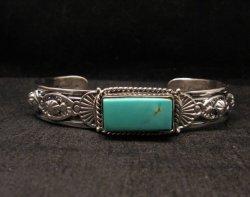 Navajo Native American Royston Turquoise Silver Bracelet, Gilbert Tom
