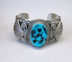 Navajo Michael & Rose Calladitto Sleeping Beauty Turquoise Silver Cuff Bracelet