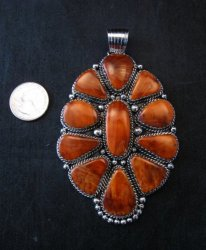 Huge Native American Navajo Spiny Oyster Cluster Pendant, Marie Bahe