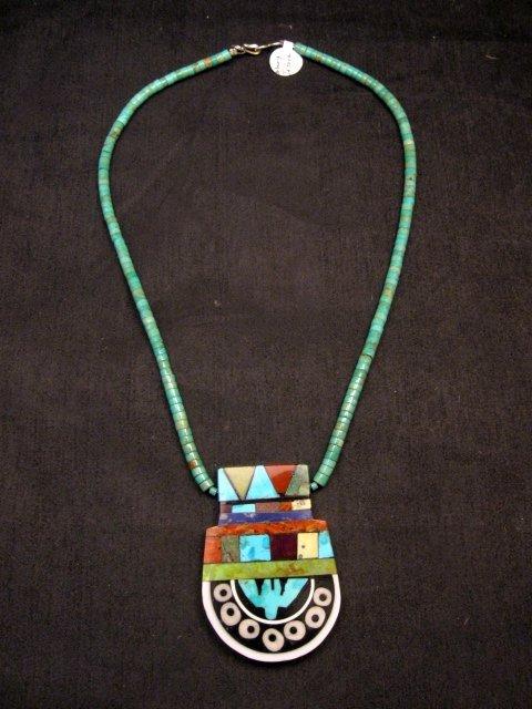 Image 0 of Mary Tafoya Santo Domingo Mosaic Inlay Turquoise Heishi Necklace