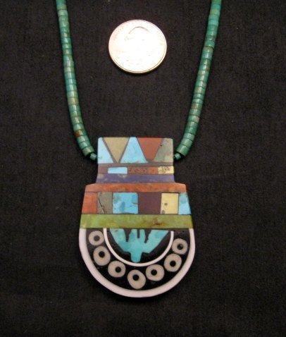 Image 1 of Mary Tafoya Santo Domingo Mosaic Inlay Turquoise Heishi Necklace