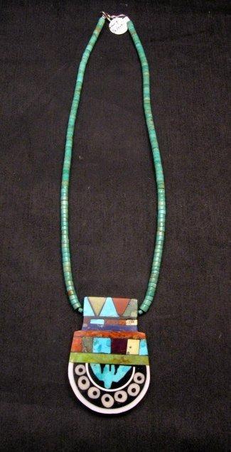 Image 3 of Mary Tafoya Santo Domingo Mosaic Inlay Turquoise Heishi Necklace