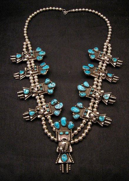 Image 0 of Doris Smallcanyon Navajo Turquoise Kachina Squash Blossom Necklace