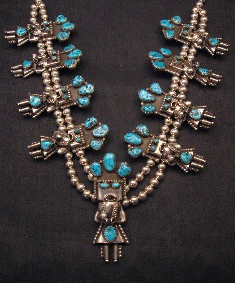 Image 1 of Doris Smallcanyon Navajo Turquoise Kachina Squash Blossom Necklace