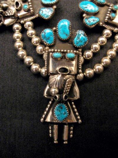 Image 2 of Doris Smallcanyon Navajo Turquoise Kachina Squash Blossom Necklace