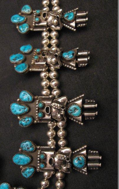 Image 4 of Doris Smallcanyon Navajo Turquoise Kachina Squash Blossom Necklace