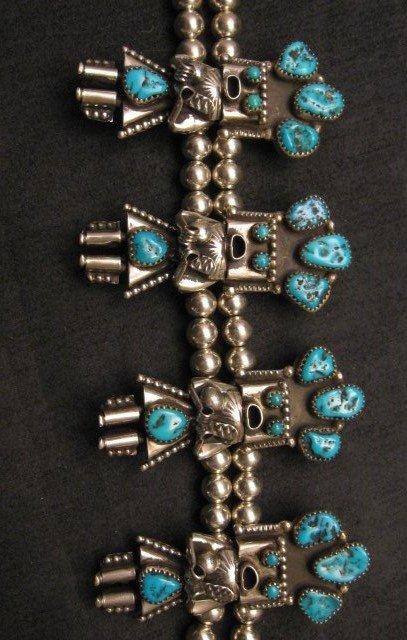 Image 3 of Doris Smallcanyon Navajo Turquoise Kachina Squash Blossom Necklace