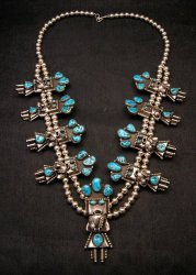 Doris Smallcanyon Navajo Turquoise Kachina Squash Blossom Necklace