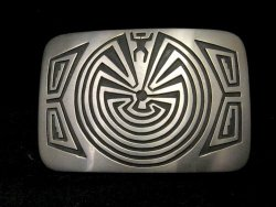 Navajo Sterling Silver Man in the Maze Belt Buckle, Stanley Gene