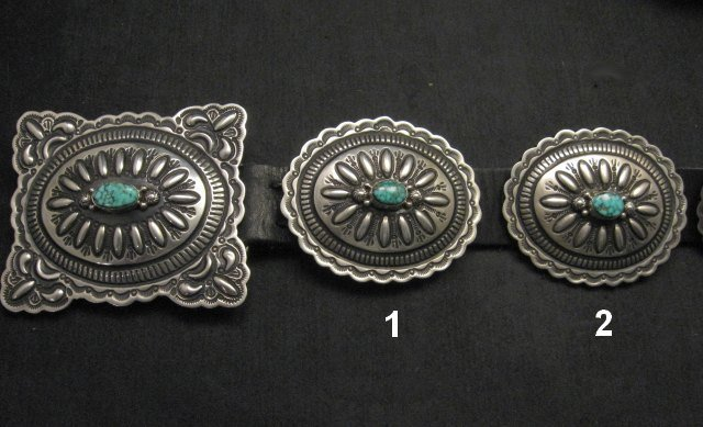 Image 3 of Navajo Darryl Becenti Kingman Turquoise Sterling Silver Concho Belt
