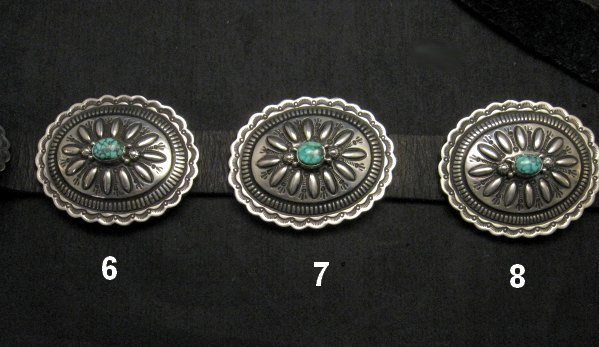 Image 5 of Navajo Darryl Becenti Kingman Turquoise Sterling Silver Concho Belt
