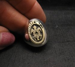 Navajo 14K Gold/Sterling Silver Turtle Ring sz10, Calvin Peterson