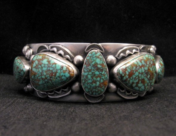 Image 0 of Large Navajo Anderson Parkett Turquoise Silver Cuff Bracelet Native American