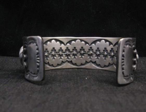 Image 2 of Large Navajo Anderson Parkett Turquoise Silver Cuff Bracelet Native American