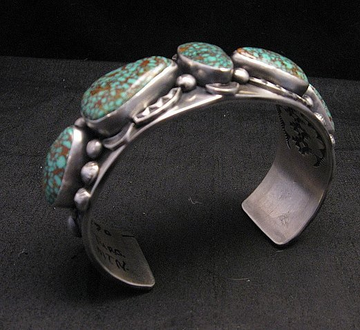 Image 6 of Large Navajo Anderson Parkett Turquoise Silver Cuff Bracelet Native American