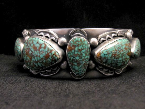 Image 7 of Large Navajo Anderson Parkett Turquoise Silver Cuff Bracelet Native American