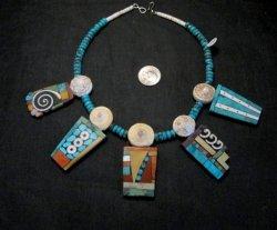 Fabulous Santo Domingo Mosaic Inlay Turquoise Bead Necklace, Mary Tafoya