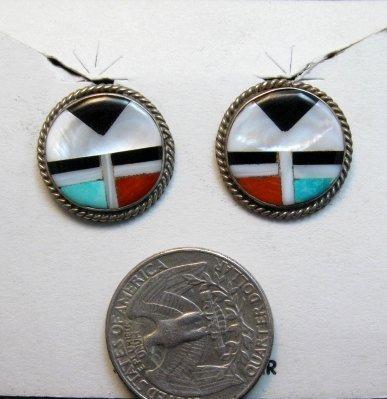 Image 0 of Vintage Zuni Multi Inlay Sunface Earrings, screwback