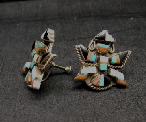 Image 1 of Vintage Zuni Multi Inlay Knifewing Earrings, screwback