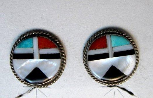Image 2 of Vintage Zuni Multi Inlay Sunface Earrings, screwback