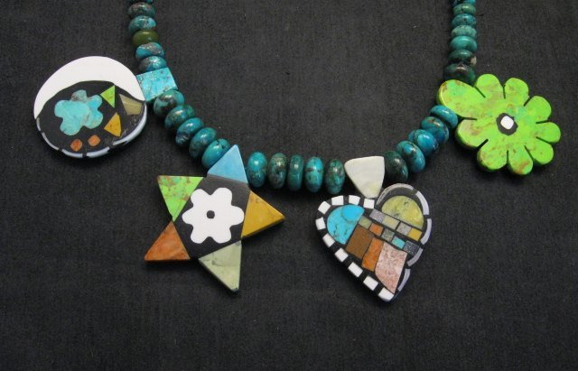 Image 1 of One of a kind Santo Domingo  Mosaic Inlay Turquoise Bead Necklace, Mary Tafoya
