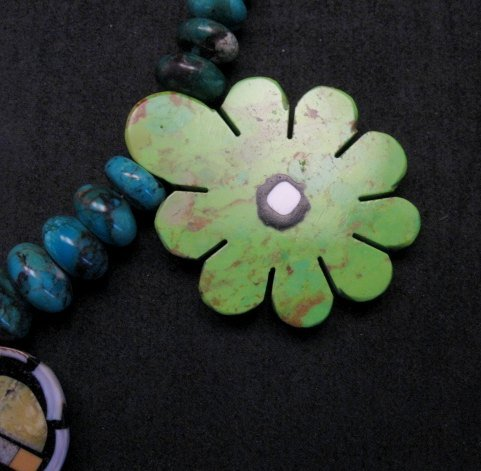 Image 2 of One of a kind Santo Domingo  Mosaic Inlay Turquoise Bead Necklace, Mary Tafoya